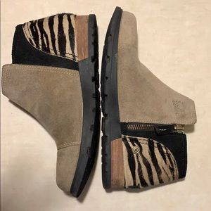 Sorel Major Low Print Suede Calfskin Booties